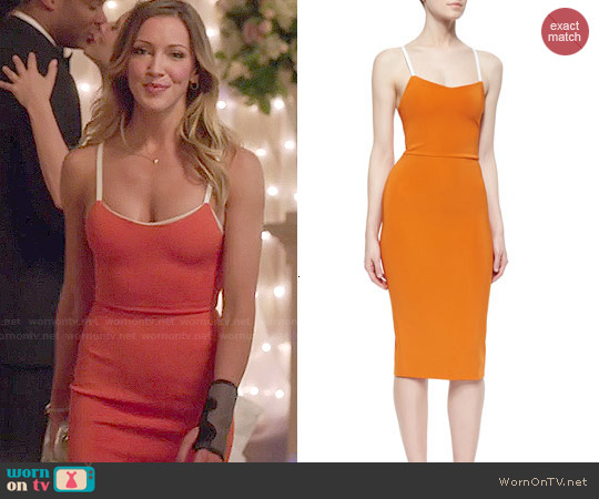 Victoria Beckham Crisscross-Back Belted-Strap Dress worn by Katie Cassidy on Arrow