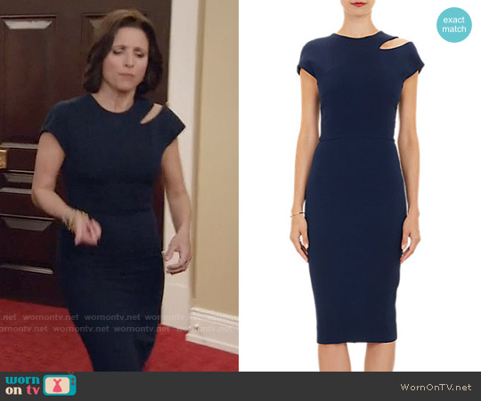 Victoria Beckham Cutout-Shoulder Sheath Dress worn by Julia Louis-Dreyfus on Veep
