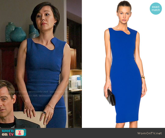 Victoria Beckham Matte Crepe Curve Neck Fitted Dress worn by Yunjin Kim on Mistresses