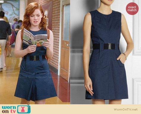 Victoria Beckham Belted Denim Dress worn by Jane Levy on Suburgatory