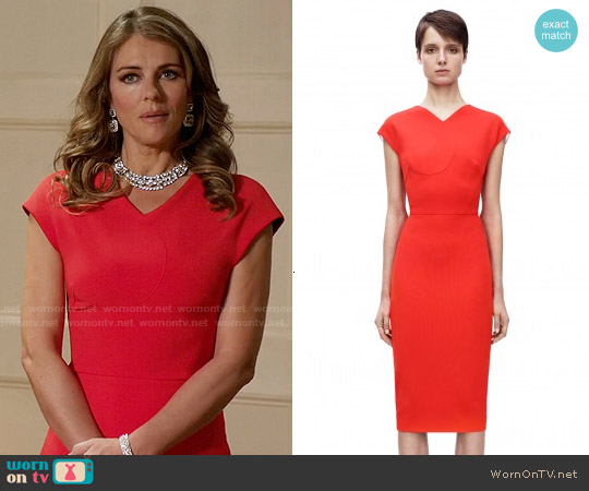Victoria Beckham Cap Sleeve Heart Fitted Dress worn by Elizabeth Hurley on The Royals