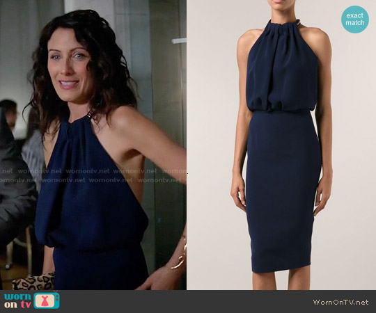 Victoria Beckham Chain Halter Dress worn by Lisa Edelstein on GG2D