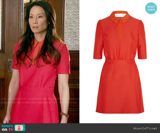 Victoria Beckham Contrast Collar Cady Dress worn by Lucy Liu on Elementary