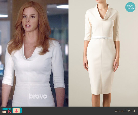 Victoria Beckham Cowl Neck Fitted Dress worn by Sarah Rafferty on Suits