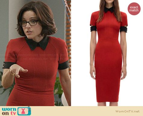 Victoria Beckham Red Fitted Polo Dress worn by Julia Louis Dreyfus on Veep