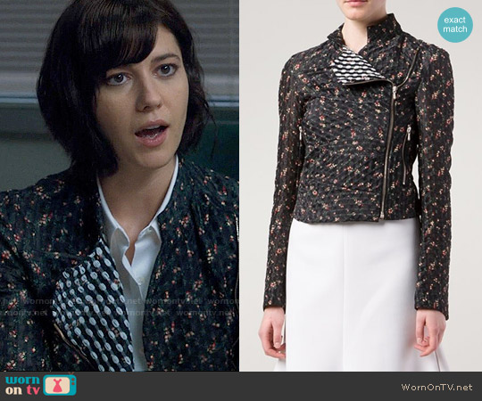 Victoria Beckham Floral Cropped Jacket worn by Mary Elizabeth Winstead on BrainDead