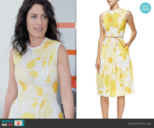 Victoria Beckham Floral Organza Jacquard Wrap Midi Dress worn by Lisa Edelstein on GG2D