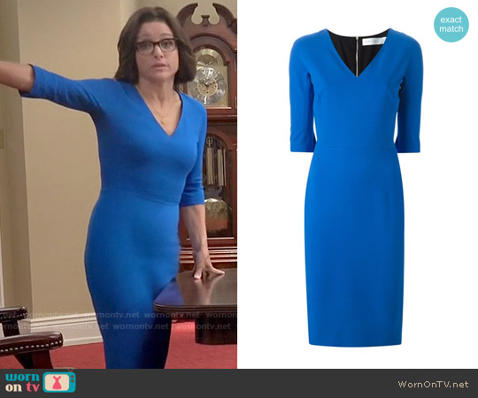 Victoria Beckham Blue Elbow Sleeve Dress worn by Julia Louis-Dreyfus on Veep