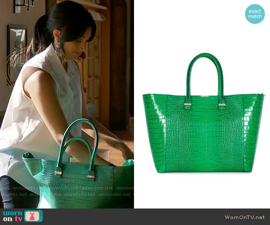 Victoria Beckham Liberty Croc Embossed Tote in Green worn by Divya Katdare on Royal Pains