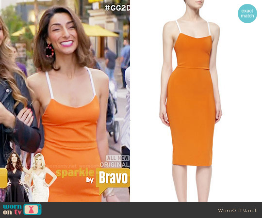 Victoria Beckham Crisscross-Back Belted-Strap Dress worn by Necar Zadegan on GG2D