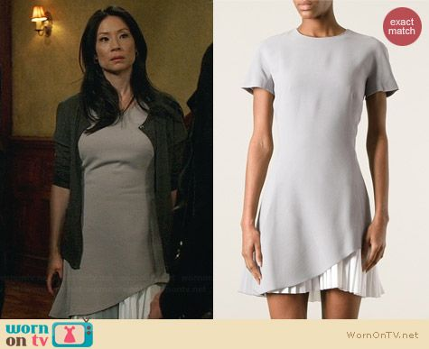 Victoria Beckham Pleated Hem Dress worn by Lucy Liu on Elementary