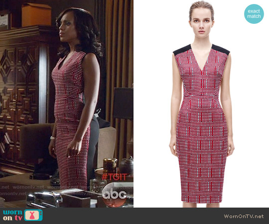 Victoria Beckham V Neck Print Fitted Dress worn by Kerry Washington on Scandal