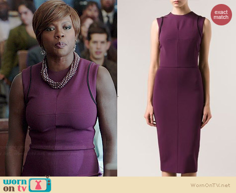 Victoria Beckham Purple Fitted Dress worn by Viola Davis on HTGAWM
