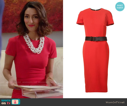 Victoria Beckham Short Sleeve Belted Dress worn by Necar Zadegan on GG2D