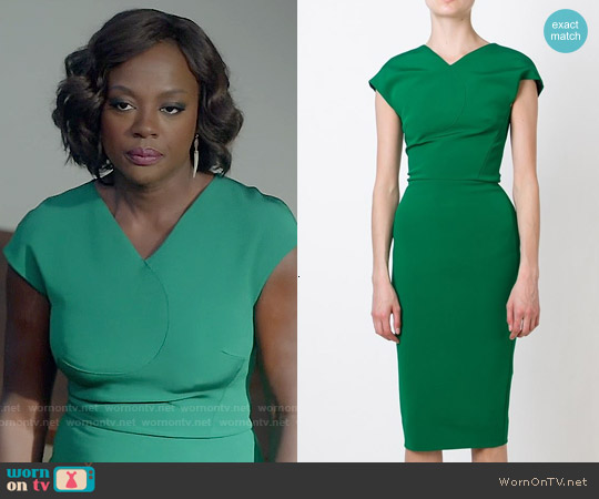 Victoria Beckham Green Short Sleeved Midi Dress worn by Viola Davis on HTGAWM