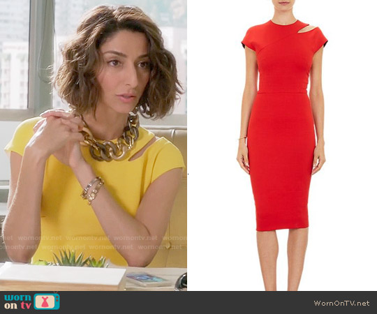 Victoria Beckham Cutout Shoulder Sheath Dress worn by Necar Zadegan on GG2D