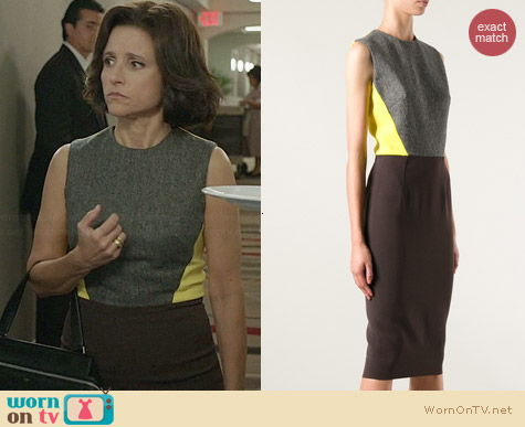 Victoria Beckham Tri Color Dress worn by Julia Louis Dreyfus on Veep
