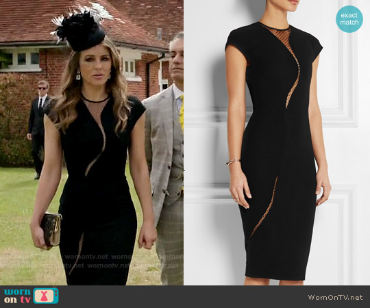Victoria Beckham Tulle-paneled Silk and Wool-blend Dress worn by Elizabeth Hurley on The Royals