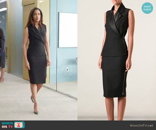 Victoria Beckham Tux Lapel Fitted Dress worn by Gina Torres on Suits
