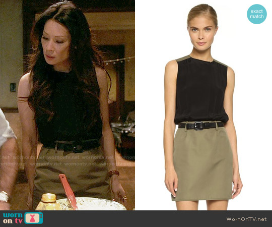 Victoria Beckham Two Tone Shirtdress worn by Lucy Liu on Elementary