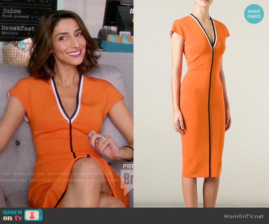 Victoria Beckham Contrast Trim V-neck Dress worn by Necar Zadegan on GG2D
