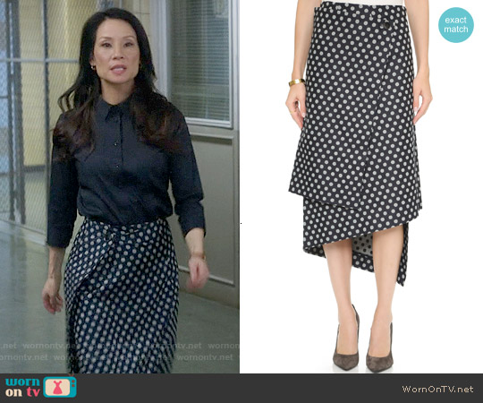 Victoria Beckham Wrap Skirt in Indigo Polka Dot worn by Lucy Liu on Elementary