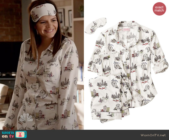 Victoria's Secret Dreamer Flannel Pajamas in City Girl worn by Casey Wilson on Marry Me