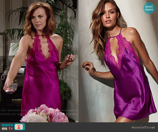 Victoria's Secret Chantilly Lace & Satin Slip worn by Gina Tognoni on The Young & the Restless