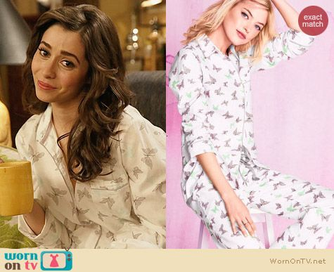 Victoria's Secret Dreamer Flannel Pajamas in Butterfly Print worn by Cristin Milioti on HIMYM