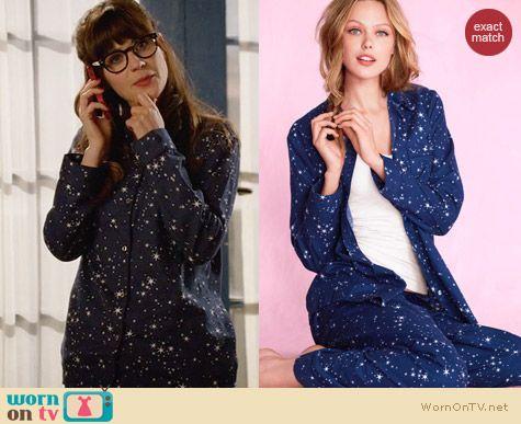 Victoria's Secreat Dreamer Flannel Pajamas in Navy Star Print worn by Zooey Deschanel on New Girl