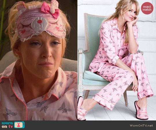 Victoria's Secret Dreamer Flannel Pajamas in Pink Butterflies worn by Brandi Burkhardt on Hart of Dixie