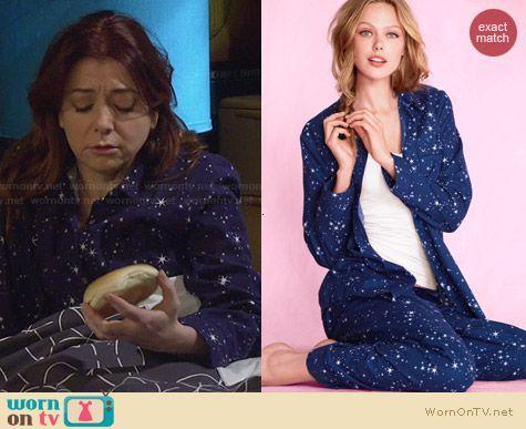 Victoria's Secret Dreamer Flannel Pajamas in Star Print worn by Alyson Hannigan on HIMYM