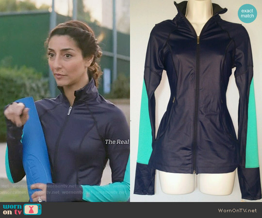 Victoria's Secret Knockout Jacket in Navy and Teal worn by Necar Zadegan on GG2D