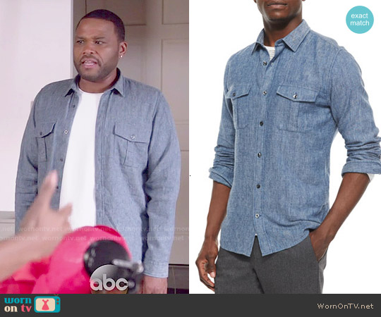 Vince Brushed Twill Long-Sleeve Denim Shirt worn by Anthony Anderson on Blackish