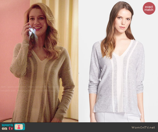 Vince Colorblock V-Neck Sweater worn by Yael Grobglas on Jane the Virgin