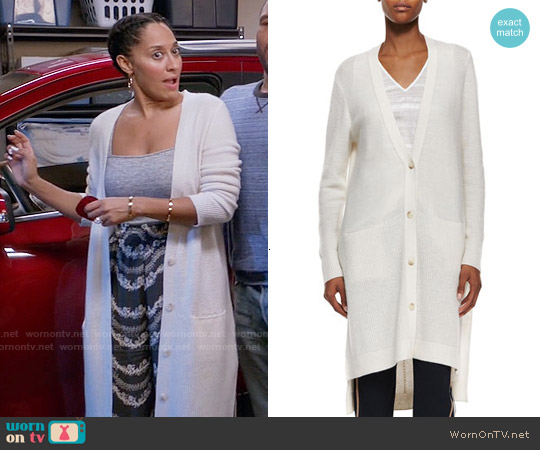 Vince Directional-Rib Long Cashmere Cardigan worn by Tracee Ellis Ross on Blackish