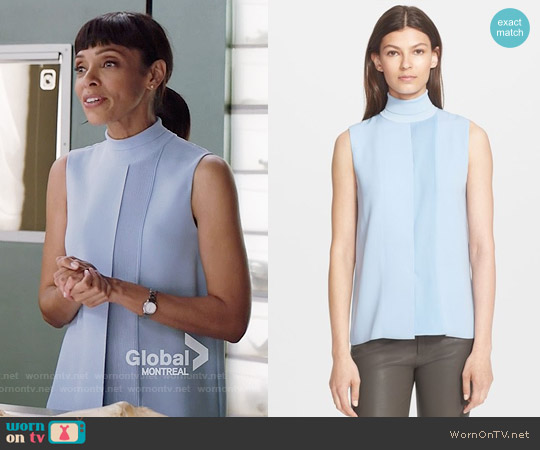Vince Laser Cut Sleeveless Turtleneck Top worn by Tamara Taylor on Bones