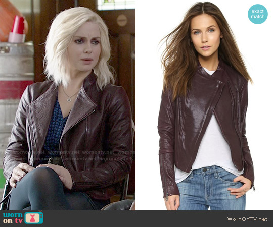 Vince Shiraz Asymmetric Leather Jacket worn by Rose McIver on iZombie