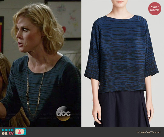 Vince Raglan Silk Blouse in Officer/Black Stripe worn by Julie Bowen on Modern Family