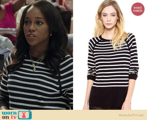 Vince Breton Stripe Cashmere Sweater worn by Aja Naomi King on HTGAWM