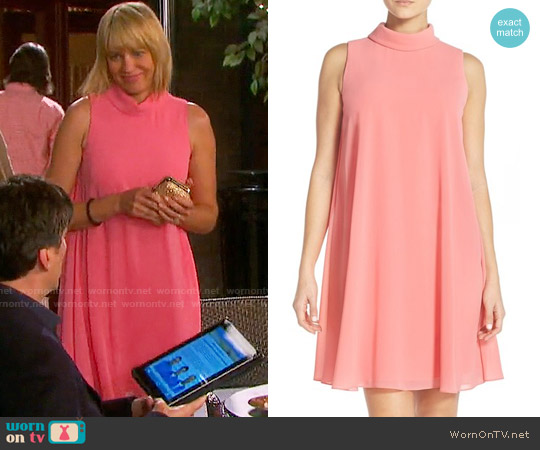 Vince Camuto Mock Neck Chiffon Trapeze Dress worn by Arianne Zucker on Days of our Lives