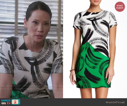 Vince Camuto Artful Strokes Dress worn by Lucy Liu on Elementary