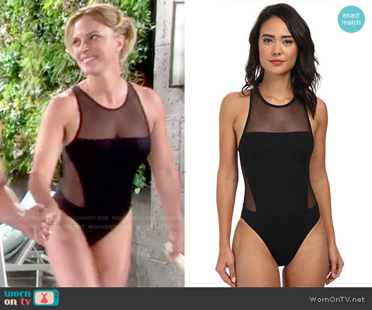 Vince Camuto Mesh Cutout One-Piece Swimsuit worn by Kelly Sullivan on The Young & the Restless