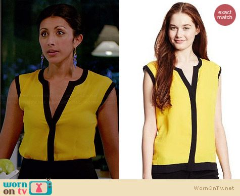 Vince Camuto Colorblock Trim Blouse in Marigold worn by Reshma Shetty on Royal Pains