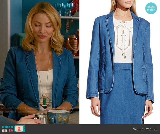 Vince Camuto Denim Blazer worn by Tabrett Bethell on Mistresses