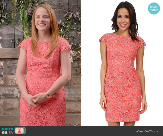Vince Camuto Fitted Lace Dress with Cap Sleeve worn by Katie Leclerc on Switched at Birth