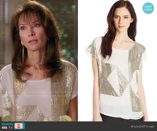 Vince Camuto Geometric Sequin Embellished Blouse worn by Susan Lucci on Devious Maids