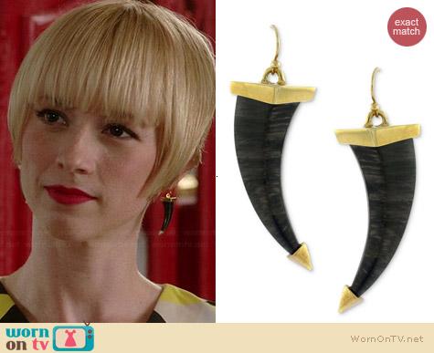 Vince Camuto Gold-Tone and Jet Horn Earrings worn by Karine Vanasse on Revenge