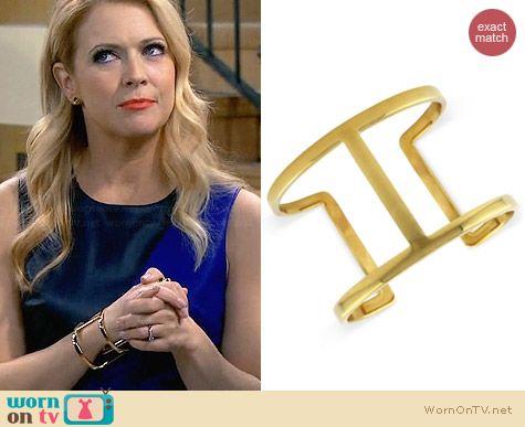 Vince Camuto Gold-Tone Openwork Cuff Bracelet worn by Melissa Joan Hart on Melissa & Joey