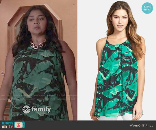 Vince Camuto 'Island Palm' Pleat Neck Tank worn by Punam Patel on Kevin from Work